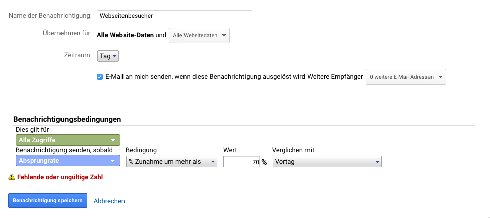 Benutzerdefinierte Benachrichtigung Google Analytics