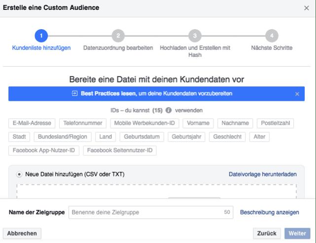 Zielgruppen Facebook