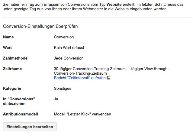 Google Conversion einrichten