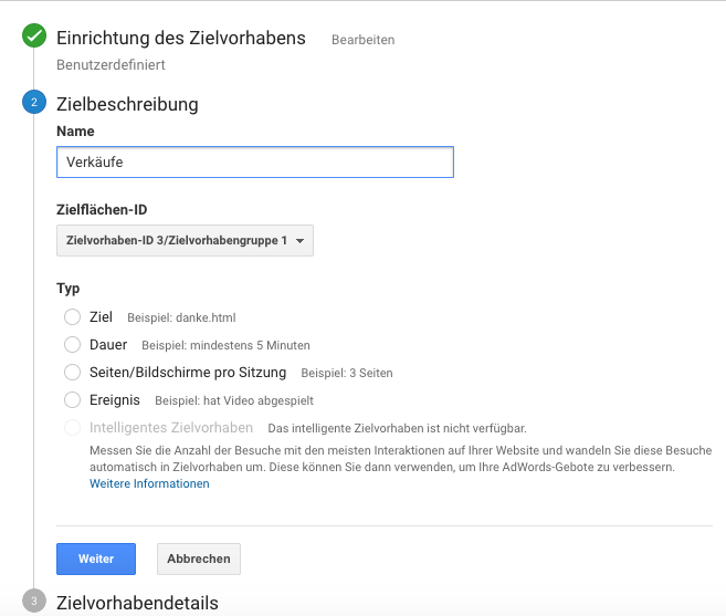 Zielvorhaben in Google Analytics