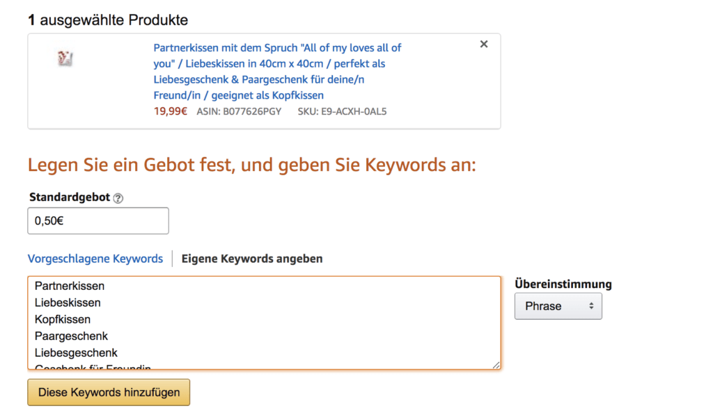 Amazon Sponsored Produktkampagnen