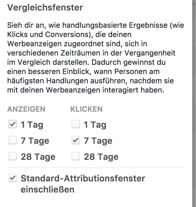 Attributionsfenster anpassen FAcebook