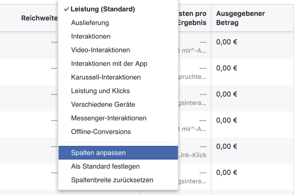 Facebook Attribution anpassen