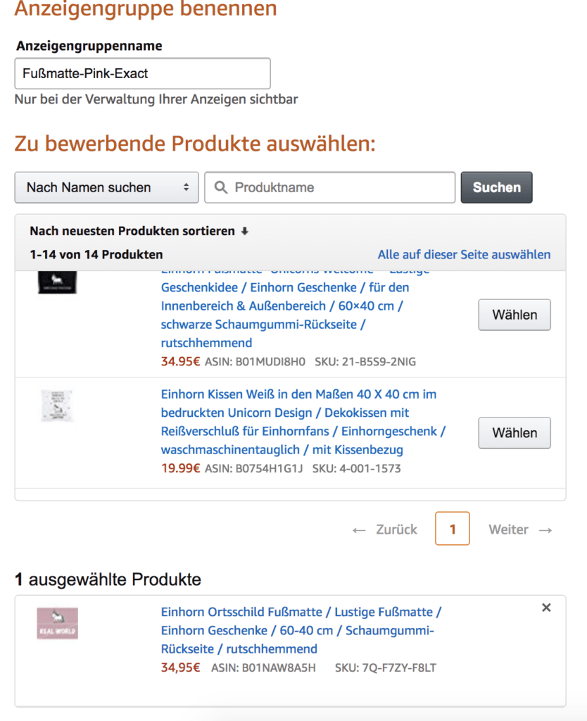 Amazon Sponsored Product Kampagnen