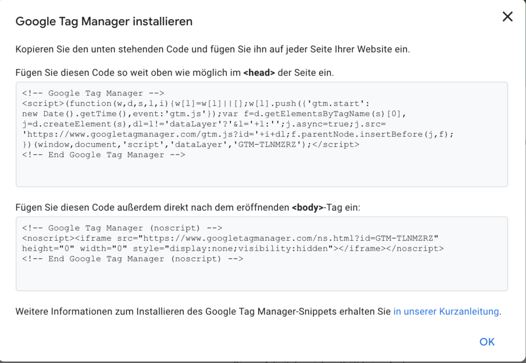 Google Tag Manager installieren