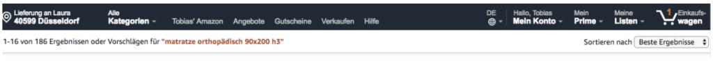 Amazon Suchergebnisseite
