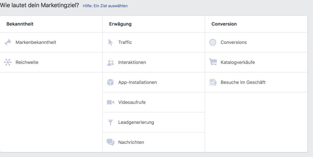 Facebook Markeeetingziele