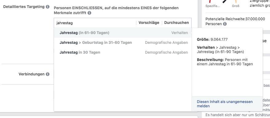 facebook targeting optionen