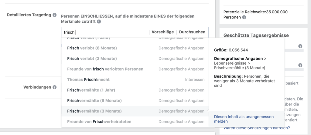 Targeting Optionen Facebook