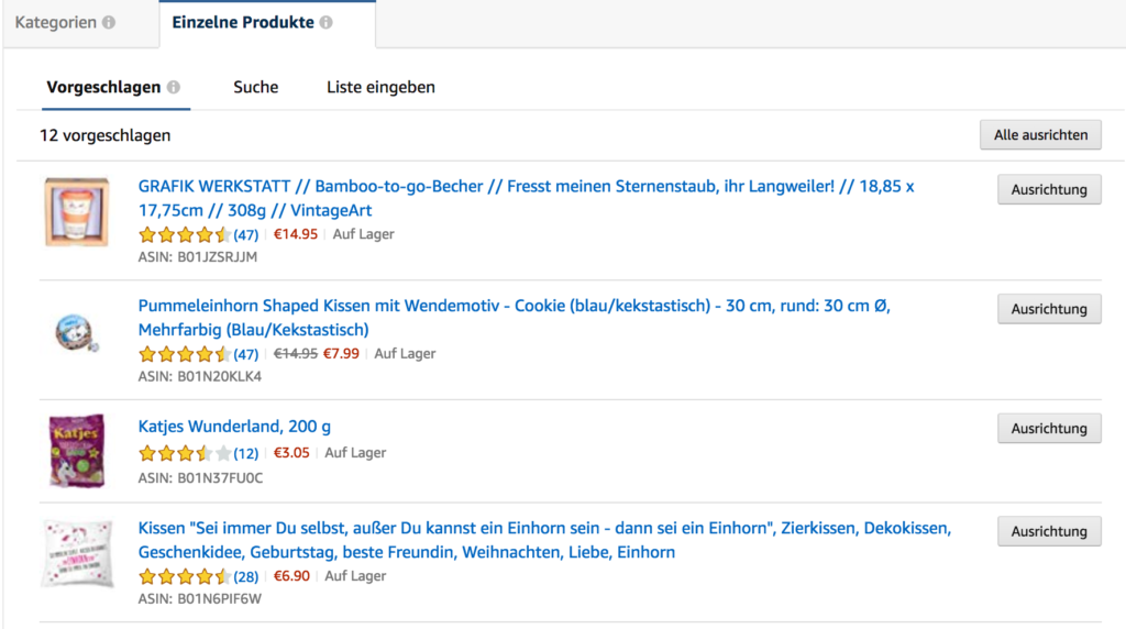 Produkt Targeting Amazon PPC