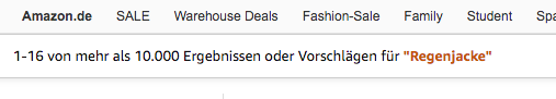 Indexierte Produkte Amazon