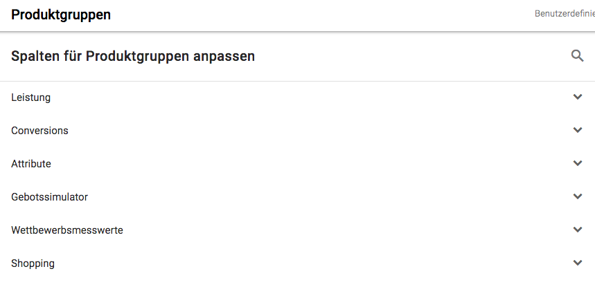 Produktgruppen Google Shopping