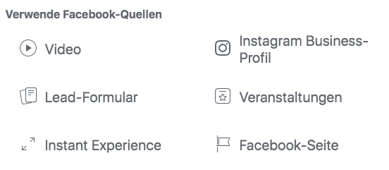 Facebook Quellen Custom Audience