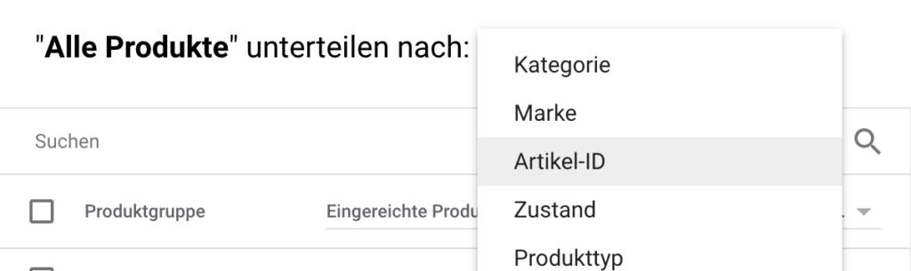 Google Shopping Untergruppen hinzufügen