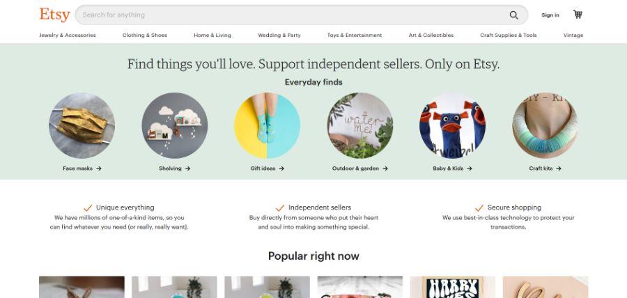 Etsy - Online Verkaufsplatz